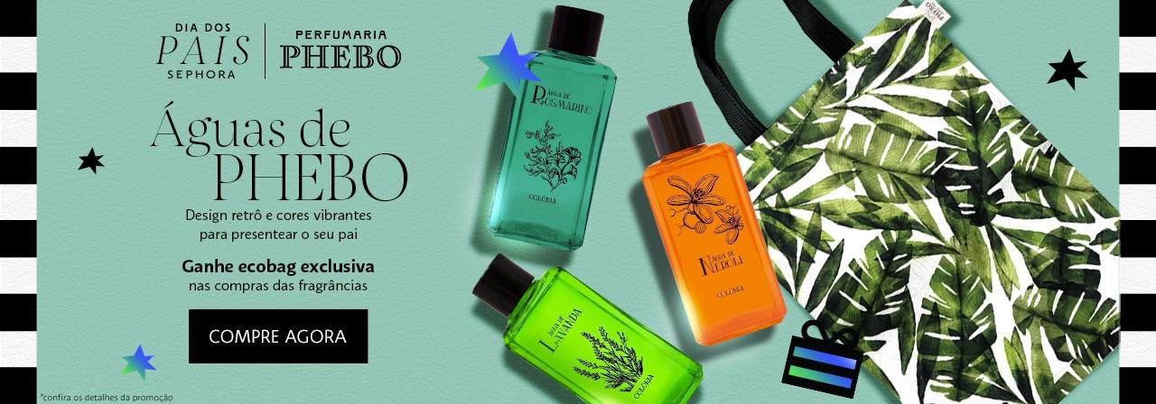 Phebo. Linha de fragrâncias Águas de Phebo. Design retrô e cores vibrantes para presentear o seu pai. Ganhe ecobag exclusiva nas compras das fragrâncias Águas de Phebo