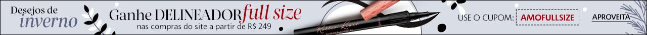 Presente Sephora. Ganhe delineador FULL SIZE nas compras do site a partir de duzentos e quarenta e nove reais usando o cupom AMOFULLSIZE.