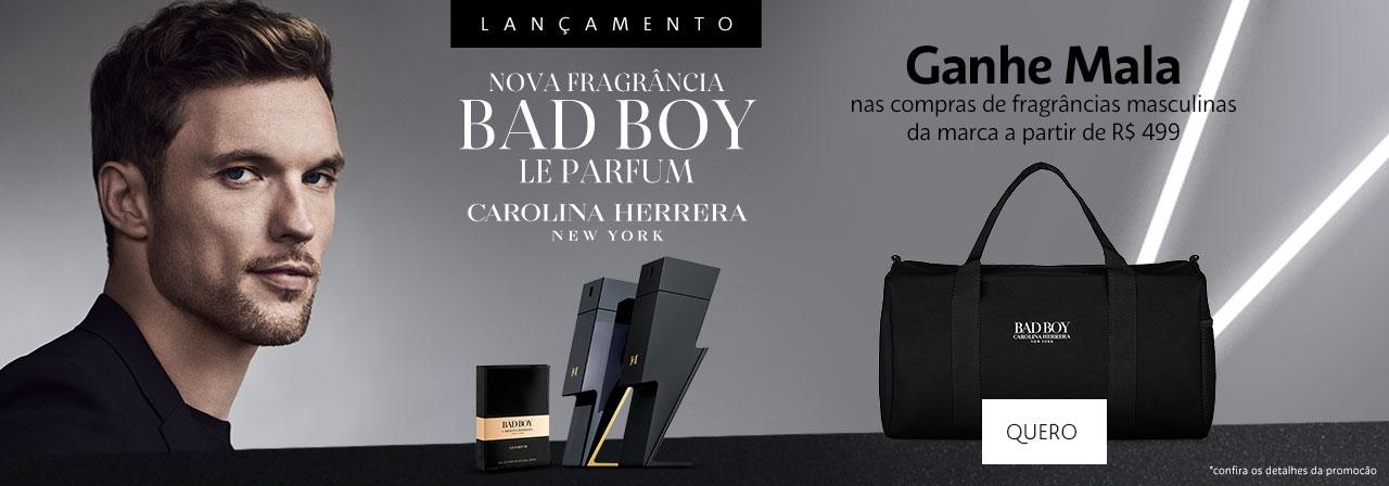 Carolina Herrera. Nova fragrância Bad Boy Le Parfum. Ganhe Mala nas fragrâncias masculinas da marca a partir de quatrocentos e noventa e nove reais.