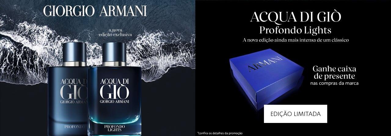 Acqua di giò profondo lights. A nova edição ainda mais intensa de um clássico. Ganhe caixa de presente nas compras da marca.