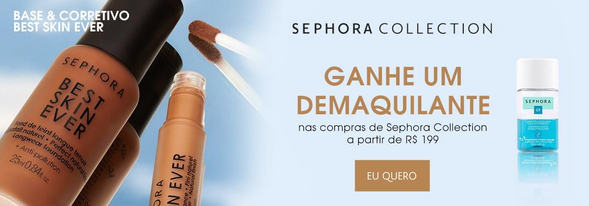 Sephora Collection. Ganhe demaquilante nas compras da marca a partir de cento e noventa e nove reais.