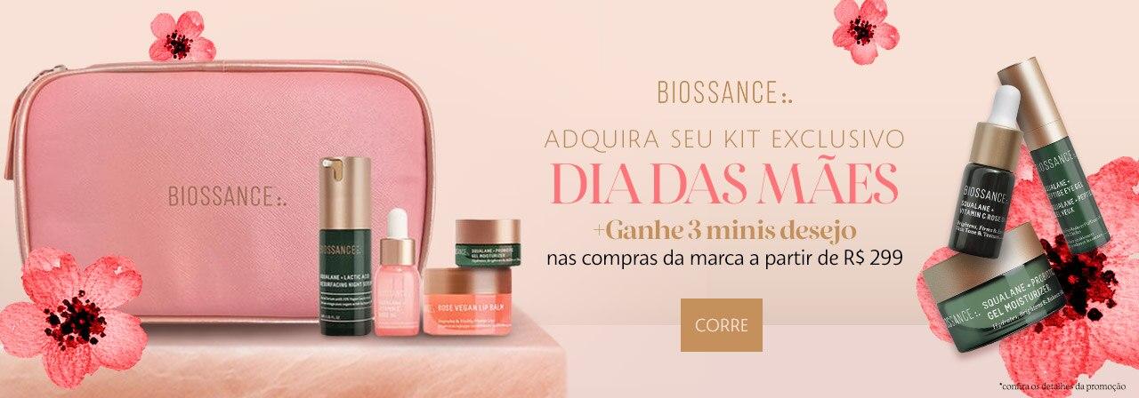 Biossance. Adquira seu kit exclusivo dia das mães! Ganhe três minis desejo nas compras da marca a partir de duzentos e noventa e nove reais.