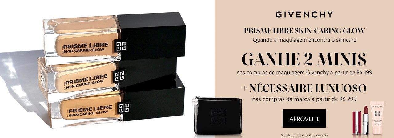Givenchy. Ganhe dois minis nas compras de maquiagem Givenchy a partir de cento e noventa e nove reais mais nécessaire luxuoso nas compras da marca a partir de duzentos e noventa e nove reais.