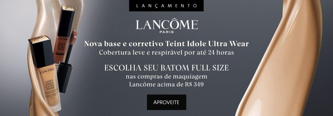 Lancôme apresenta Nova base e corretivo Teint Idole Ultra Wear. Cobertura leve e respirável por até 24 horas. Escolha seu Batom Full Size nas compras de maquiagem Lancôme acima de trezentos e quarenta e nove reais.